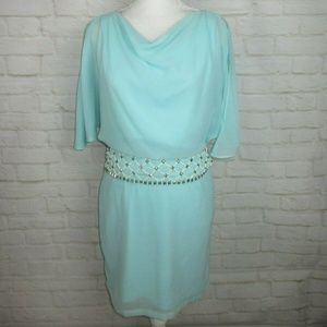 Ark and Co women's size S Light Blue Beaded Chiffo